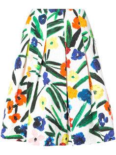 пышная юбка с цветочным принтом  Oscar de la Renta