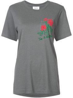 футболка с принтом роз на кармане  Rosie Assoulin