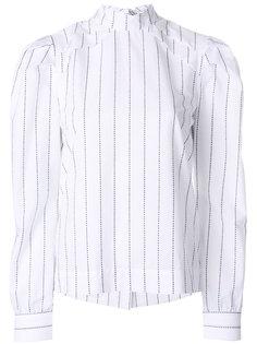 блузка с высоким воротником в тонкую полску MSGM