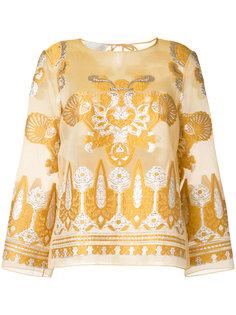 блузка с вышивкой Alberta Ferretti
