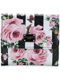 полосатый кошелек с принтом роз Dolce & Gabbana