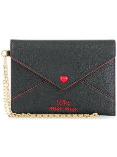 сумка-конверт с вышивкой Love Miu Miu