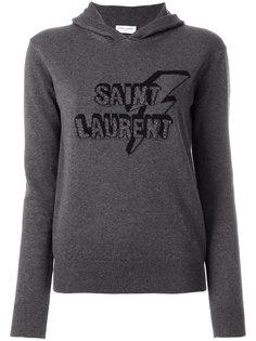 branded knit hoodie Saint Laurent