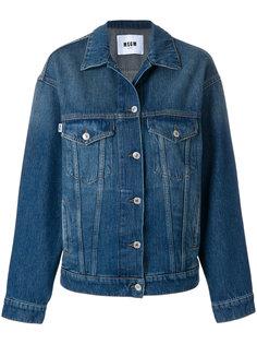 джинсовая куртка с принтом-логотипом MSGM