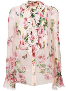 блузка с рюшами и розами Dolce & Gabbana