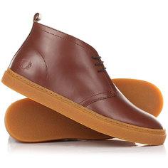 Кеды кроссовки высокие Fred Perry Hawley Mid Leather Chestnut