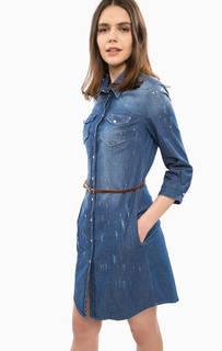 Платье-рубашка на кнопках с отделкой стразами Liu Jo