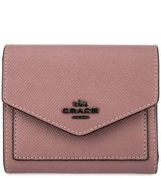 Розовый кошелек на кнопке Coach