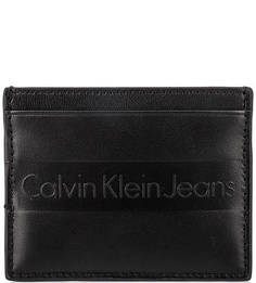 Кожаная визитница с логотипом бренда Calvin Klein Jeans