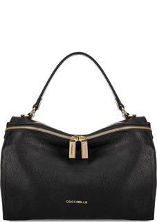 Кожаная сумка с одним отделом на молнии Coccinelle