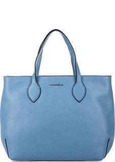 Синяя кожаная сумка на молнии Coccinelle