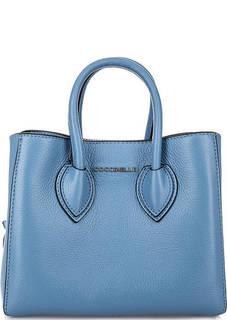 Синяя кожаная сумка с двумя отделами Coccinelle