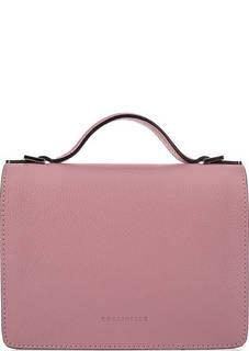 Розовая кожаная сумка с откидным клапаном Coccinelle