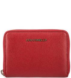 Красный кожаный кошелек на молнии Coccinelle