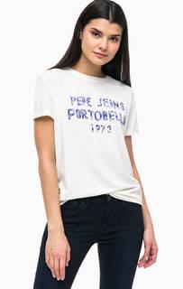 Трикотажная футболка с контрастным принтом Pepe Jeans