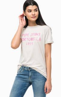 Хлопковая футболка с контрастным принтом Pepe Jeans