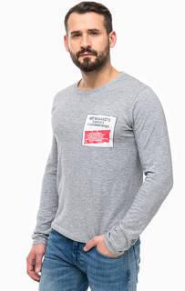 Серая хлопковая футболка с принтом Pepe Jeans