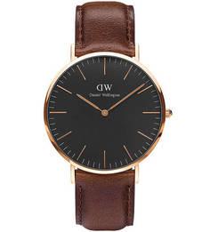 Кварцевые часы с широким кожаным ремешком Daniel Wellington