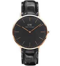 Кварцевые часы с кожаным ремешком с выделкой под рептилию Daniel Wellington