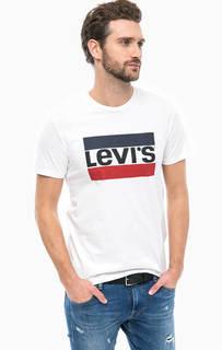 Белая хлопковая футболка с принтом Levis®