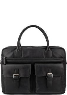 Вместительная синяя сумка из мягкой кожи Lancaster