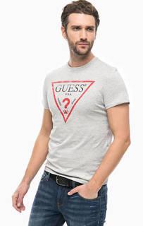 Серая хлопковая футболка с принтом Guess