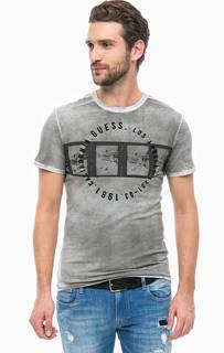 Хлопковая футболка с нашивками Guess