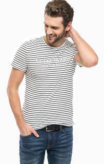 Хлопковая футболка в полоску с вышивкой Guess