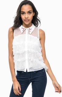 Блуза с прозрачными вставками и вышивкой Guess