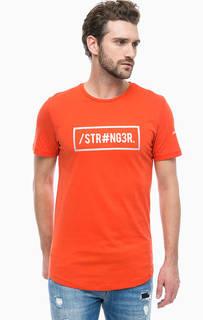Оранжевая футболка с круглым вырезом Jack & Jones