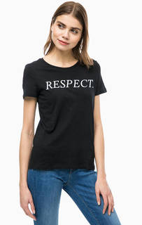 Черная хлопковая футболка с принтом Vero Moda