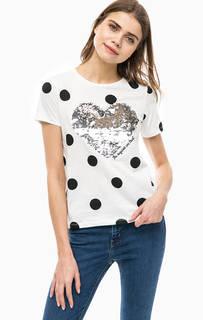 Белая хлопковая футболка в горошек Only