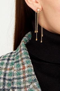 Золотистые серьги с подвесками-цепями Exclaim