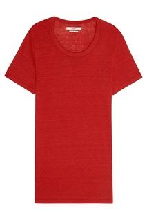 Льняная футболка красного цвета Isabel Marant Etoile