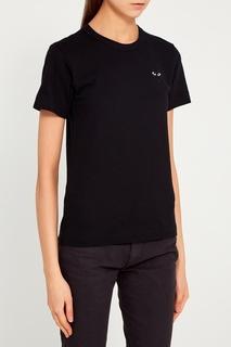 Черная футболка с нашивкой Comme Des Garcons Play
