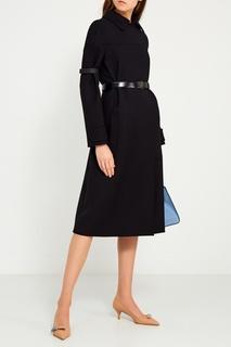 Шерстяное пальто с поясом Prada