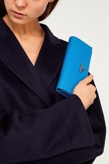 Голубой кошелек с клапаном Prada