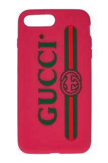Розовый чехол для iPhone Gucci