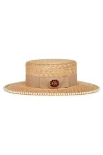 Соломенная шляпа с жемчужинами Gucci