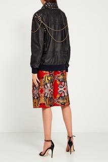 Кожаная куртка с заклепками Gucci