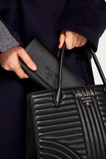 Черный кожаный кошелек с логотипом Prada
