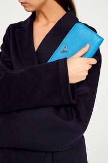 Голубой кошелек с логотипом Prada