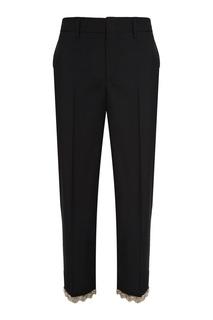 Шерстяные брюки с серебристой отделкой Prada
