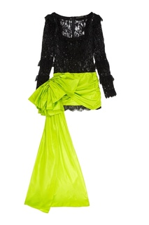 Комбинированное платье-мини со шлейфом Dundas