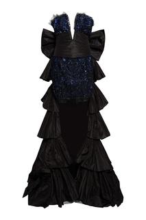 Комбинированное платье со шлейфом Dundas