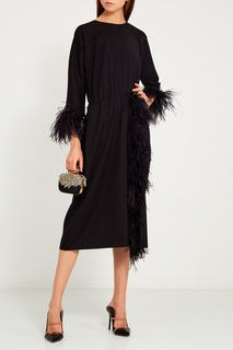 Черное платье с перьями ЛИ ЛУ