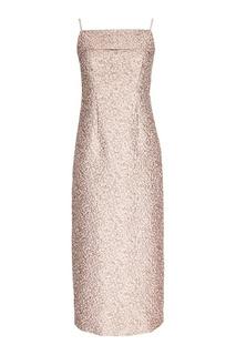 Розовое платье из жаккарда Biryukov