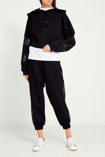 Черное худи с сеткой на рукавах Sport Angel