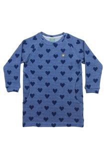 Синее хлопковое платье с сердечками Lisa&Leo