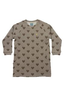 Бежевое хлопковое платье с сердечками Lisa&Leo